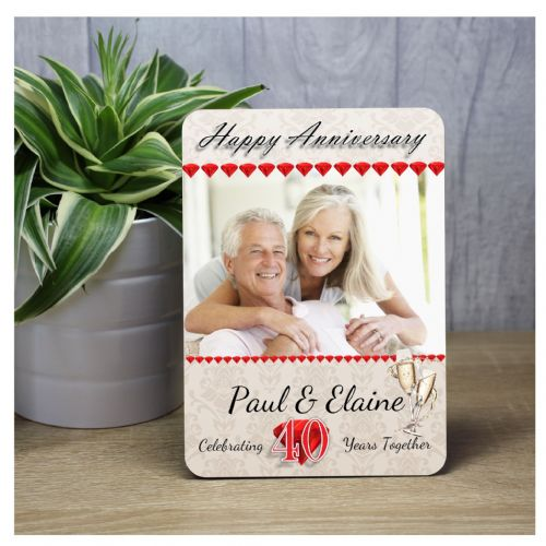 Personalised 40th Ruby Wedding Anniversary Wood Photo Frame Print Gift F36